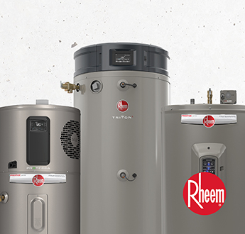 Rheem water heaters now available. Shop now.